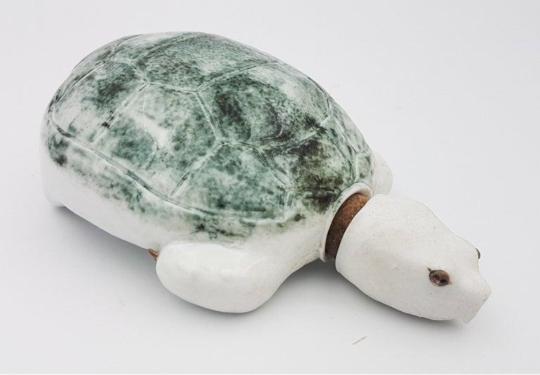 Brandon Schnur Figurative Sculpture - Green Turtle Flask