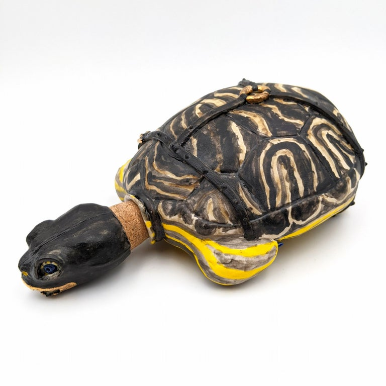 Yours For The Taking Turtle Flask - Sculpture by Brandon Schnur