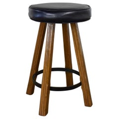 Brandt Ranch Oak Bar Stool Acorn Brown Finish & Black-Brown Faux Leather Seat