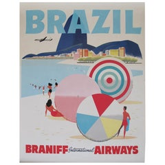 Braniff 1950s Brazil Travel Airline Poster