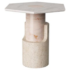 Side Table in Travertine and Marble Braque