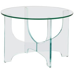 Brasília Brazilian Contemporary Glass Corner Table by Lattoog, Smaller