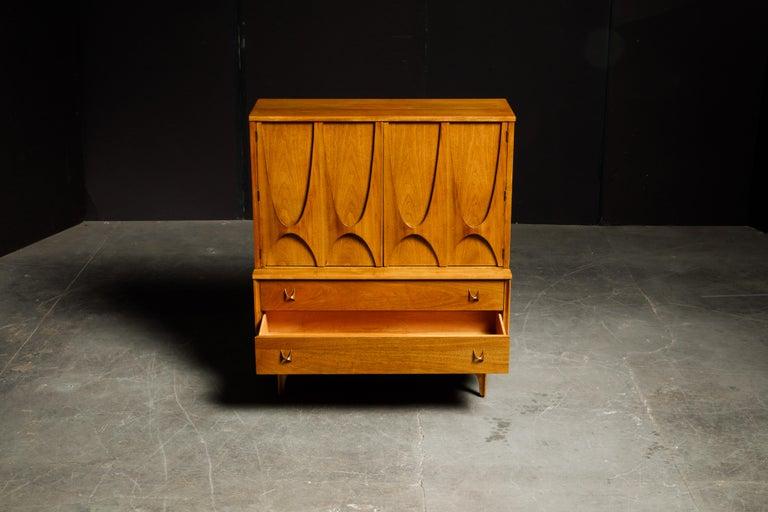 'Brasilia' by Broyhill Premier Highboy Dresser, Refinished, 1960s, Signed  For Sale 9