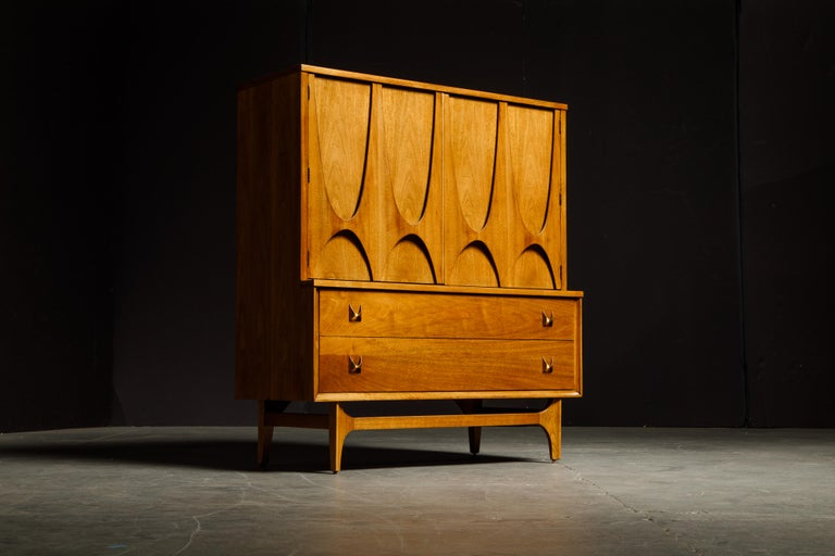 Mid-Century Modern 'Brasilia' by Broyhill Premier Highboy Dresser, Refinished, 1960s, Signed  For Sale