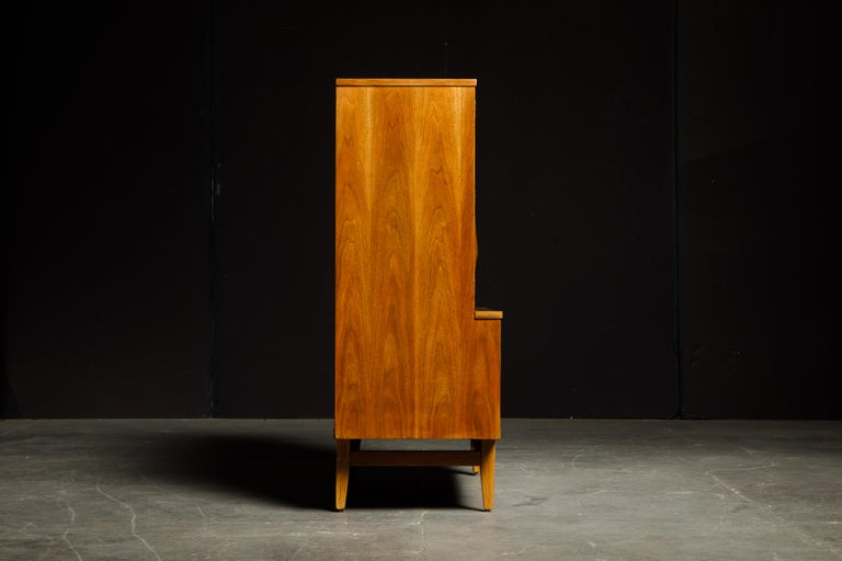 'Brasilia' by Broyhill Premier Highboy Dresser, Refinished, 1960s, Signed  In Excellent Condition For Sale In Los Angeles, CA