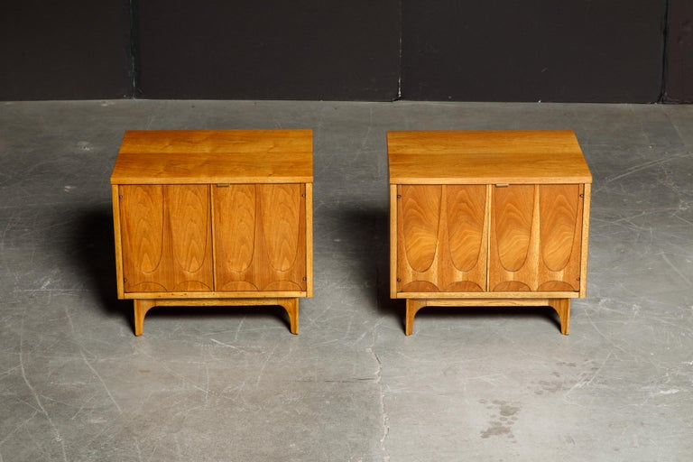 Mid-Century Modern 'Brasilia' by Broyhill Premier Pair of End Tables, Refinished, 1960s For Sale
