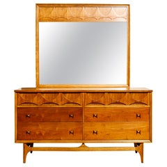 'Brasilia' by Broyhill Premiere Sculptural Dresser and Mirror, 1960s, Signed