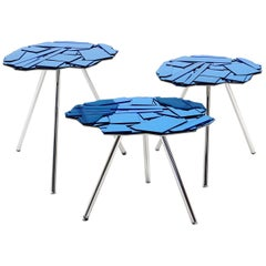 Brasilia Nesting Tables, Three, by The Campana Brothers, Blue Glass Tops, Chrome