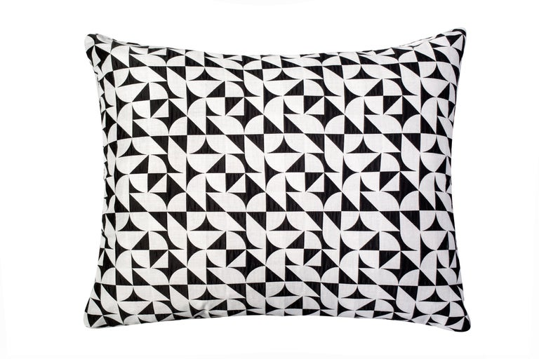 Cotton Brasilia Pattern Cushion Curvature Collection Inspired Brazilian Architecture For Sale