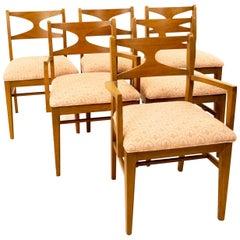 Brasilia Style Mid Century Walnut Bowtie Dining Chairs, Set of 6