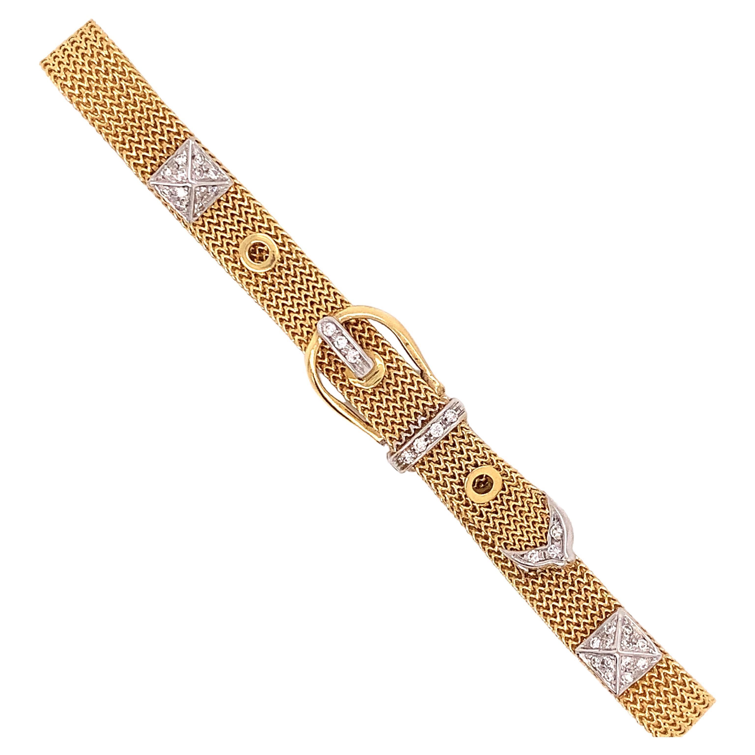 Brasolin Diamond and 18Kt Yellow Gold Italian Buckle Bracelet