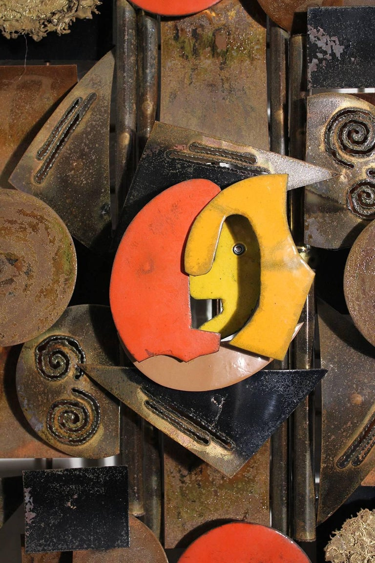 20th Century Brass and Enamel Abstract Brutalist Wall Sculpture For Sale