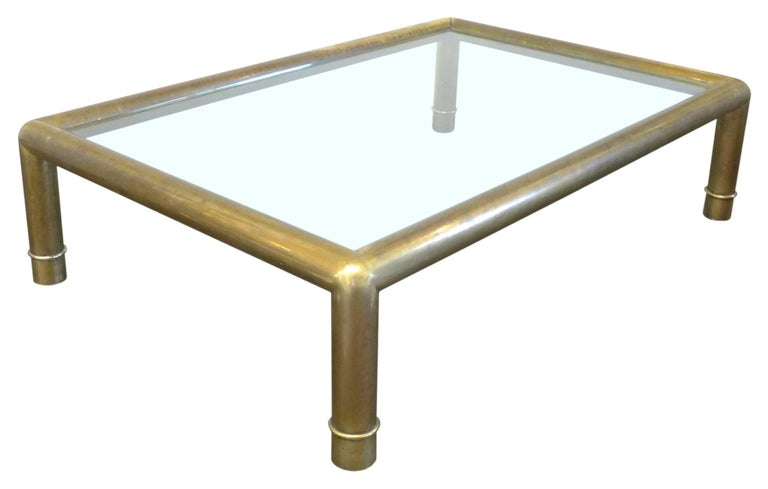 American Brass and Glass Coffee Table by Mastercraft For Sale