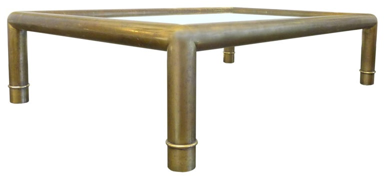 Brass and Glass Coffee Table by Mastercraft In Good Condition For Sale In Los Angeles, CA