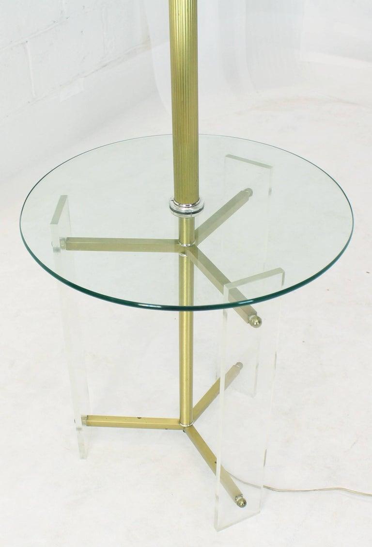 Mid-Century Modern floor lamp side table combination.
