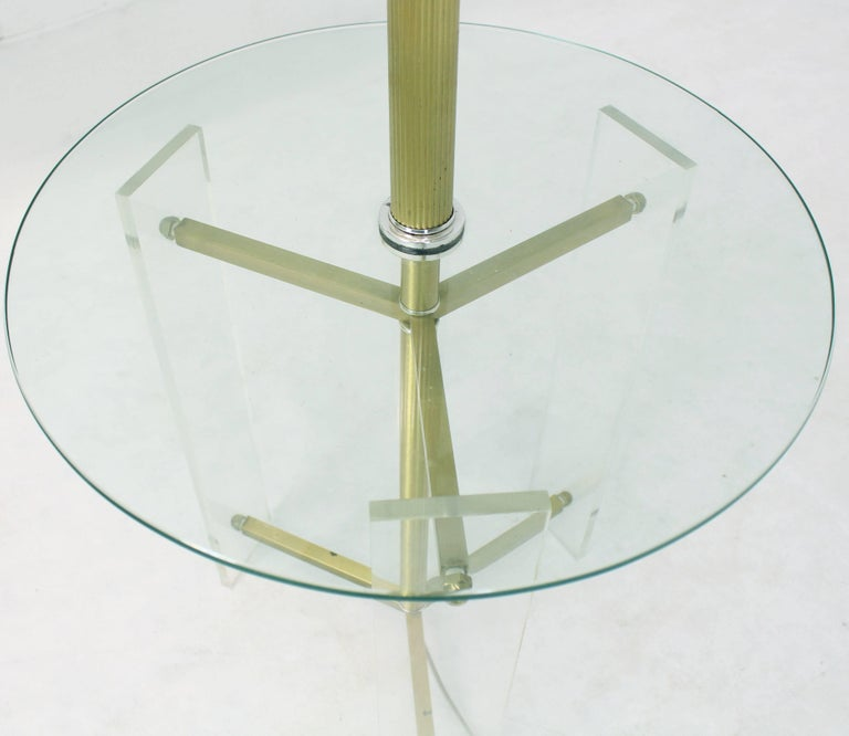 Mid-Century Modern Brass and Lucite Tripod Leg Floor Lamp Glass Side Table For Sale