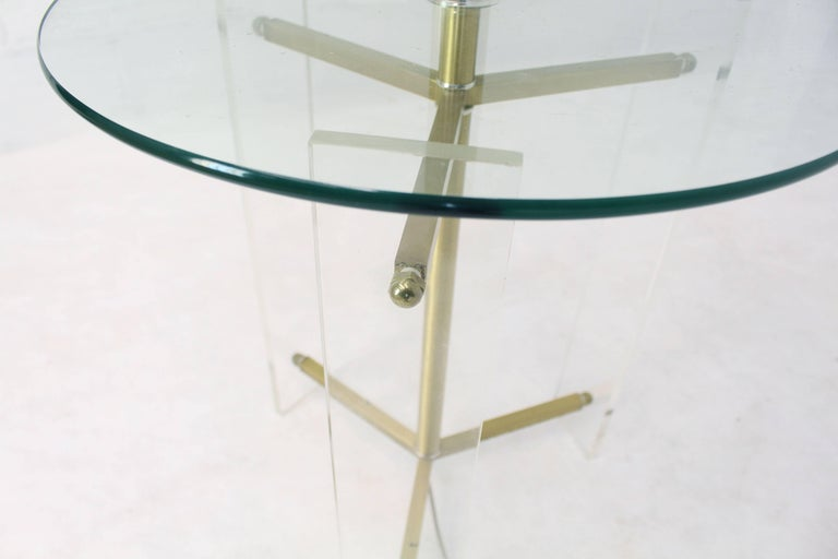 American Brass and Lucite Tripod Leg Floor Lamp Glass Side Table For Sale
