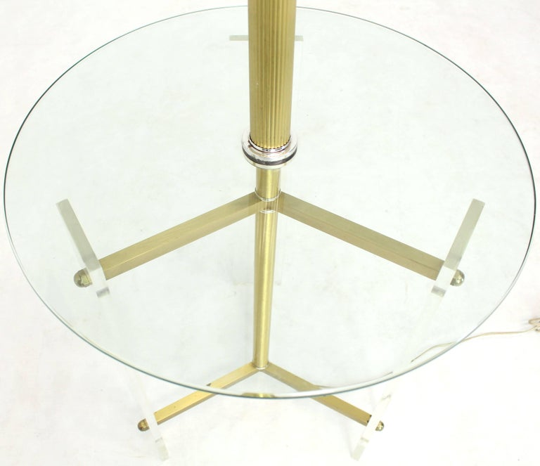 Brass and Lucite Tripod Leg Floor Lamp Glass Side Table In Good Condition For Sale In Rockaway, NJ