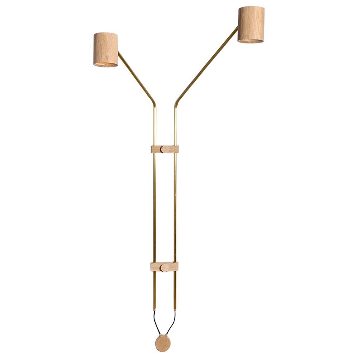 Brass 2 Spot Wall Lamp by ASAF Weinbroom Studio