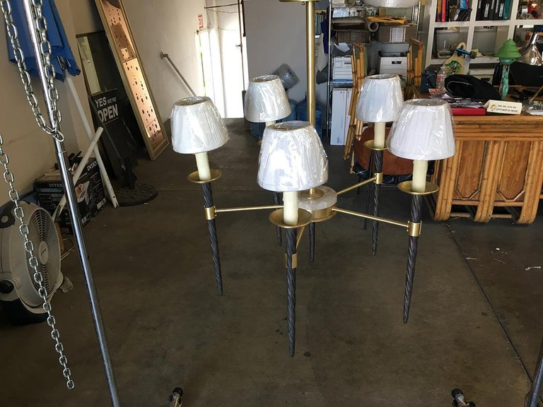 Brass 5-Light Chandelier with Large Narwhal Tusks and Rock Crystal Accents For Sale 1