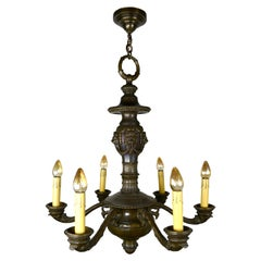 Brass 6-Light Chandelier with Lions