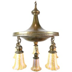 Brass 6-Light Pan Chandelier with Serpents and Quezal Shades