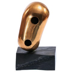 Brass Abstract Head Table Top Sculpture, Signed Levin