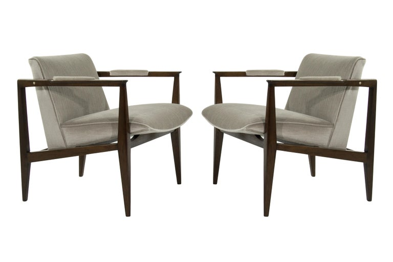 Brass Accented Edward Wormley for Dunbar Lounge Chairs For Sale 7