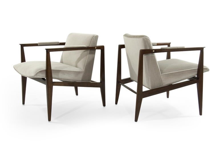 American Brass Accented Edward Wormley for Dunbar Lounge Chairs For Sale
