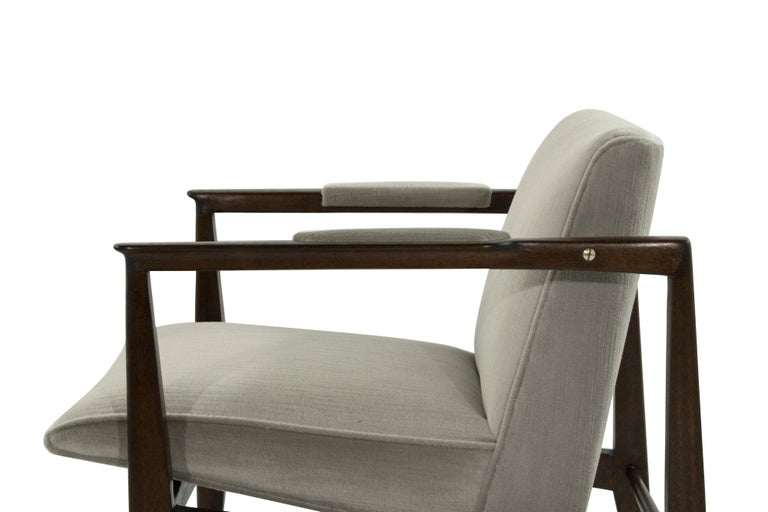 Brass Accented Edward Wormley for Dunbar Lounge Chairs For Sale 1