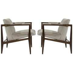Brass Accented Edward Wormley for Dunbar Lounge Chairs