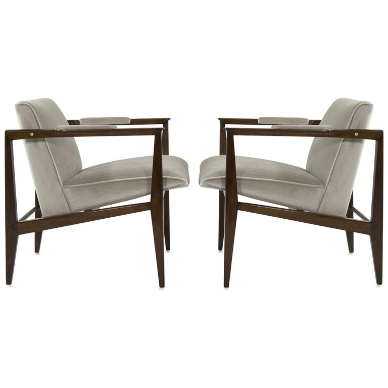 Brass Accented Edward Wormley for Dunbar Lounge Chairs For Sale