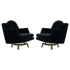 Brass Accented Swivel Chairs by Edward Wormley for Dunbar, 1950s