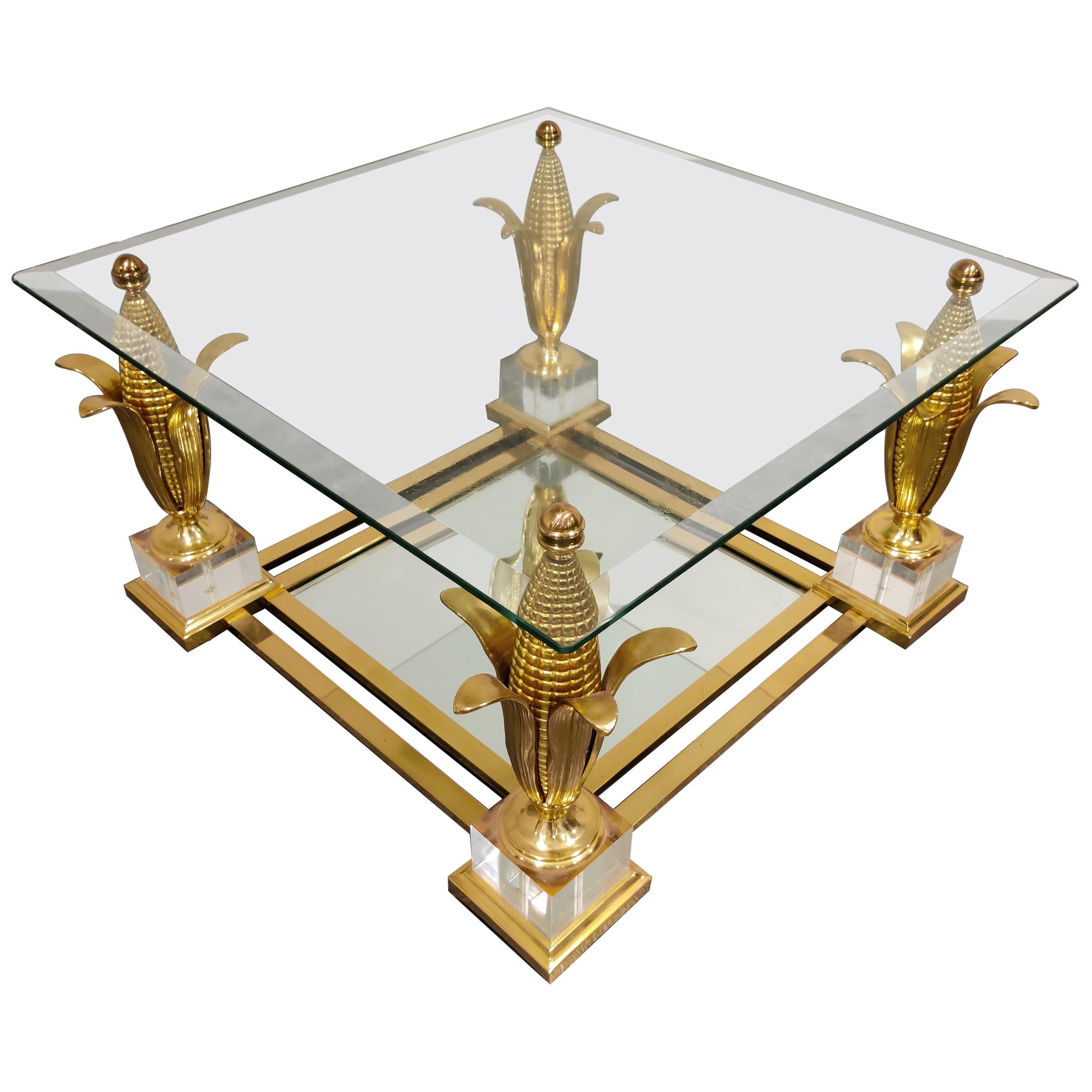 Brass Acorn Coffee Table, 1970s