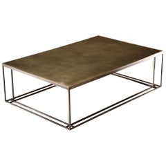 All Brass Binate Art Deco Minimal Metal Coffee Table