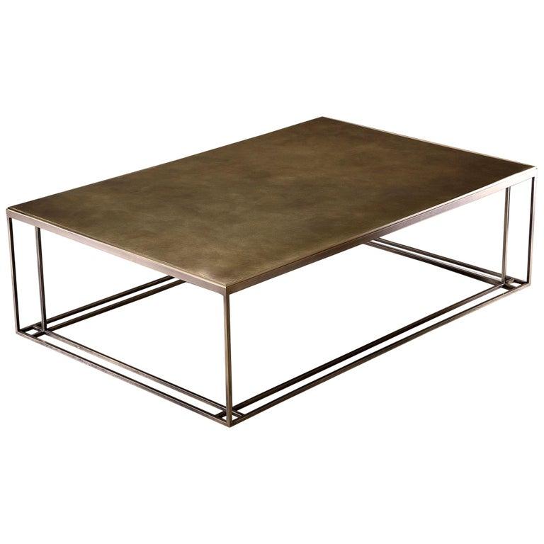 All Brass Binate Art Deco Minimal Metal Coffee Table For
