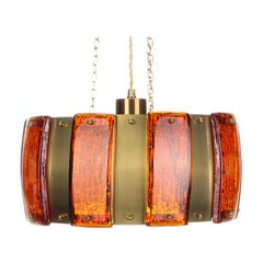 Brass and Amber Pendant Light, 1970s, Pressed Glass and Brass Hanging Lamp