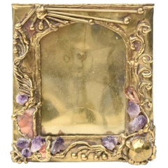 Brass, Amethyst and Quartz Hand Forged Picture Frame Desk Accessory Vintage