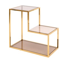 Brass and 3 Smoked Glass Top Etagere, Italy, 1960s Romeo Rega