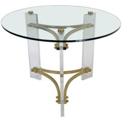 Brass and Acrylic Side Table by Charles Hollis Jones