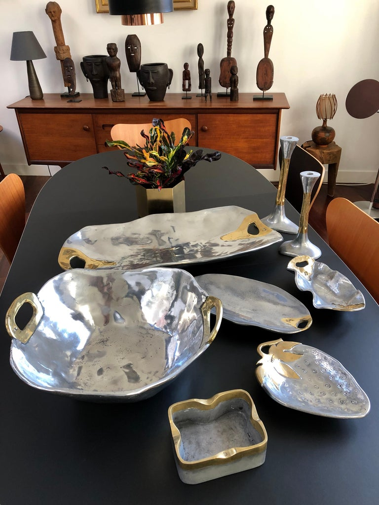 Modern Brass and Aluminium Strawberry Tray in the Style of David Marshall, circa 1970s For Sale