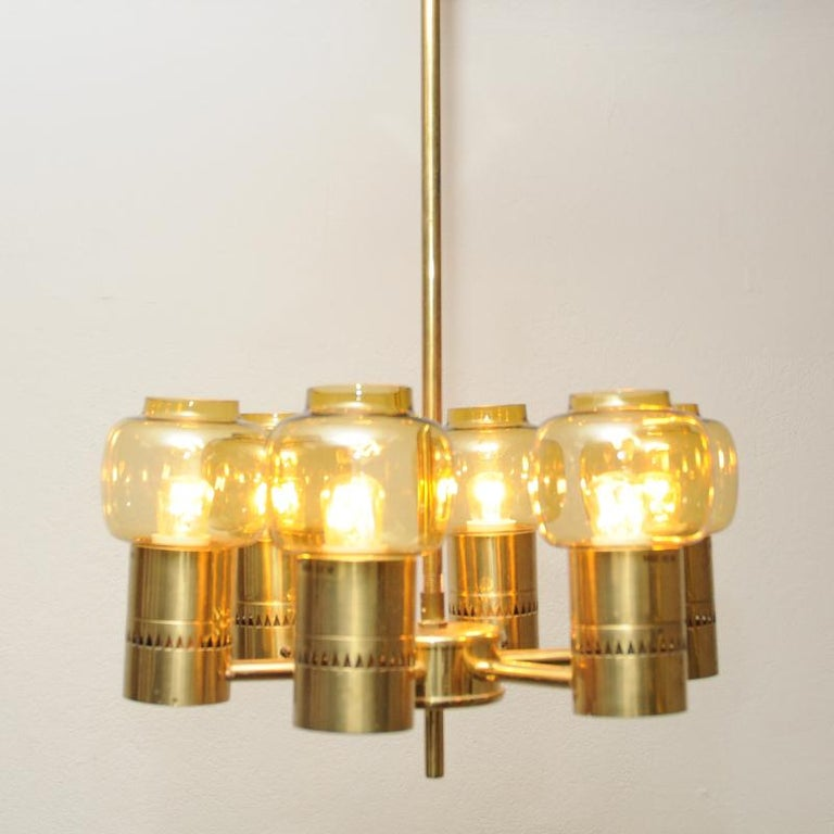 Mid-20th Century Brass and Amber Glass Ceiling Lamp by Hans-Agne Jacobsson 1950s, Sweden For Sale