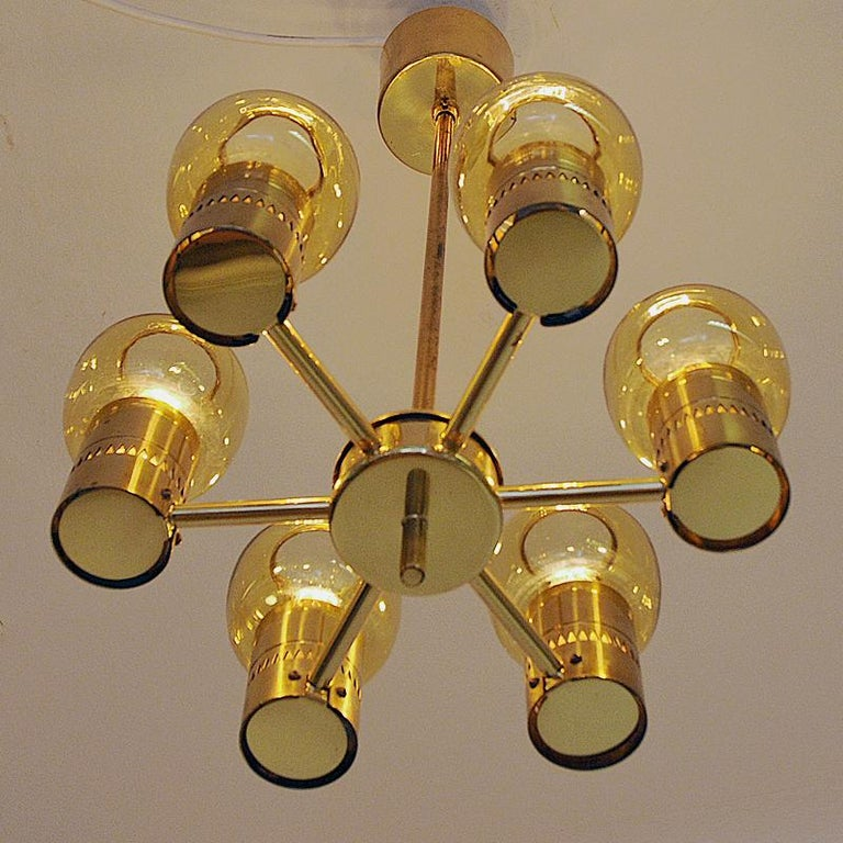 Brass and Amber Glass Ceiling Lamp by Hans-Agne Jacobsson 1950s, Sweden For Sale 1