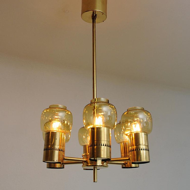 Brass and Amber Glass Ceiling Lamp by Hans-Agne Jacobsson 1950s, Sweden For Sale 2