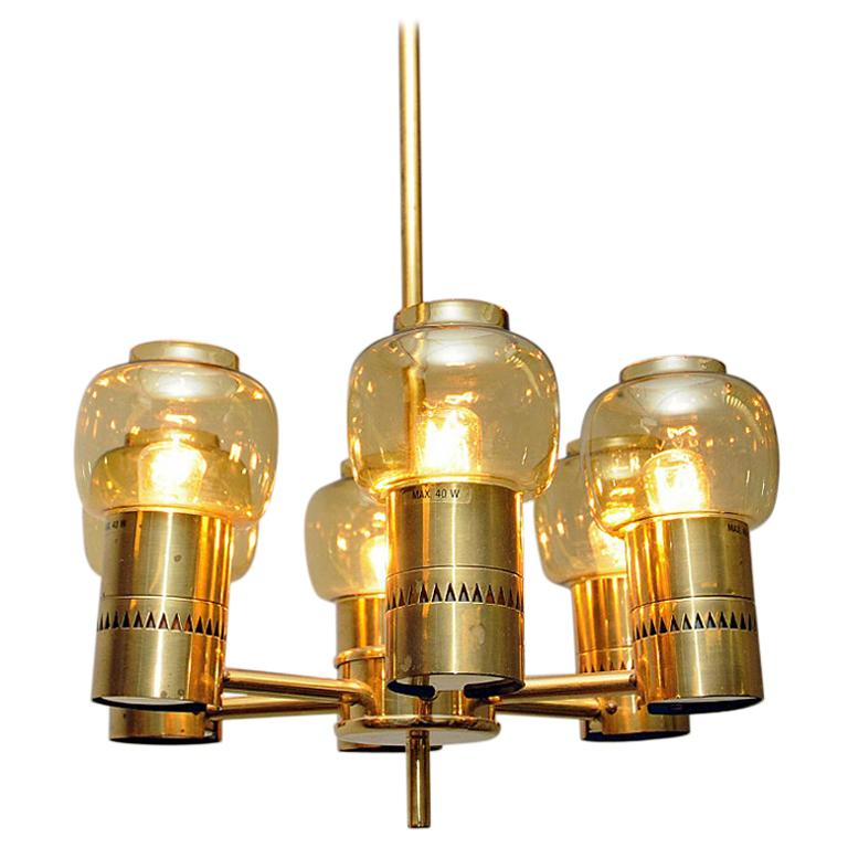 Brass and Amber Glass Ceiling Lamp by Hans-Agne Jacobsson 1950s, Sweden For Sale