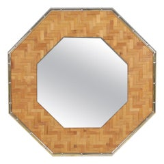 Brass and Bamboo Octagonal Mirror
