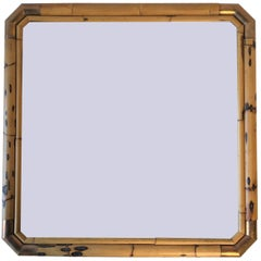 Brass and Bamboo Wall Mirror in Hollywood Regency Style