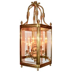 Brass and Beveled Glass Hall Lantern