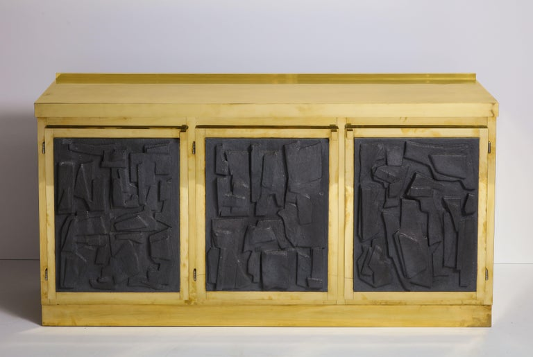 Brass Sideboard or Credenza with Black Brutalist Relief Panels, Italy For Sale 12