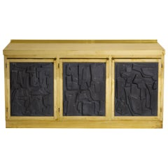 Brass Sideboard or Credenza with Black Brutalist Relief Panels, Italy